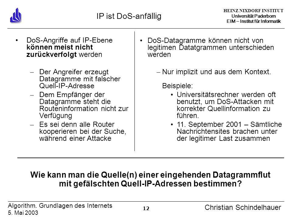 HEINZ NIXDORF INSTITUT Universität Paderborn EIM Institut für Informatik 12 Algorithm. Grundlagen des Internets 5. Mai 2003 Christian Schindelhauer IP