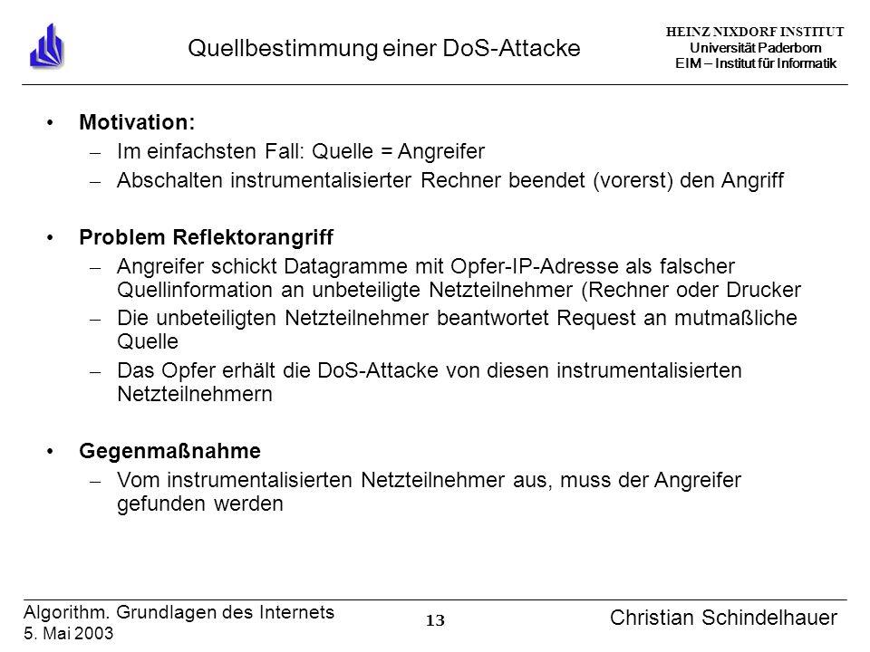 HEINZ NIXDORF INSTITUT Universität Paderborn EIM Institut für Informatik 13 Algorithm. Grundlagen des Internets 5. Mai 2003 Christian Schindelhauer Qu