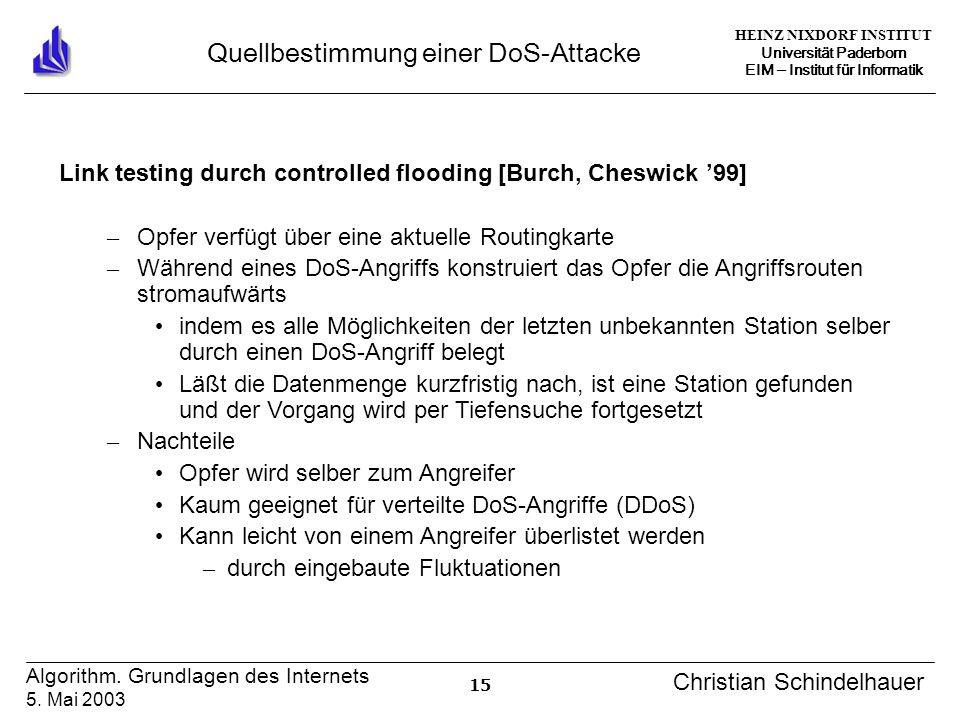 HEINZ NIXDORF INSTITUT Universität Paderborn EIM Institut für Informatik 15 Algorithm. Grundlagen des Internets 5. Mai 2003 Christian Schindelhauer Qu