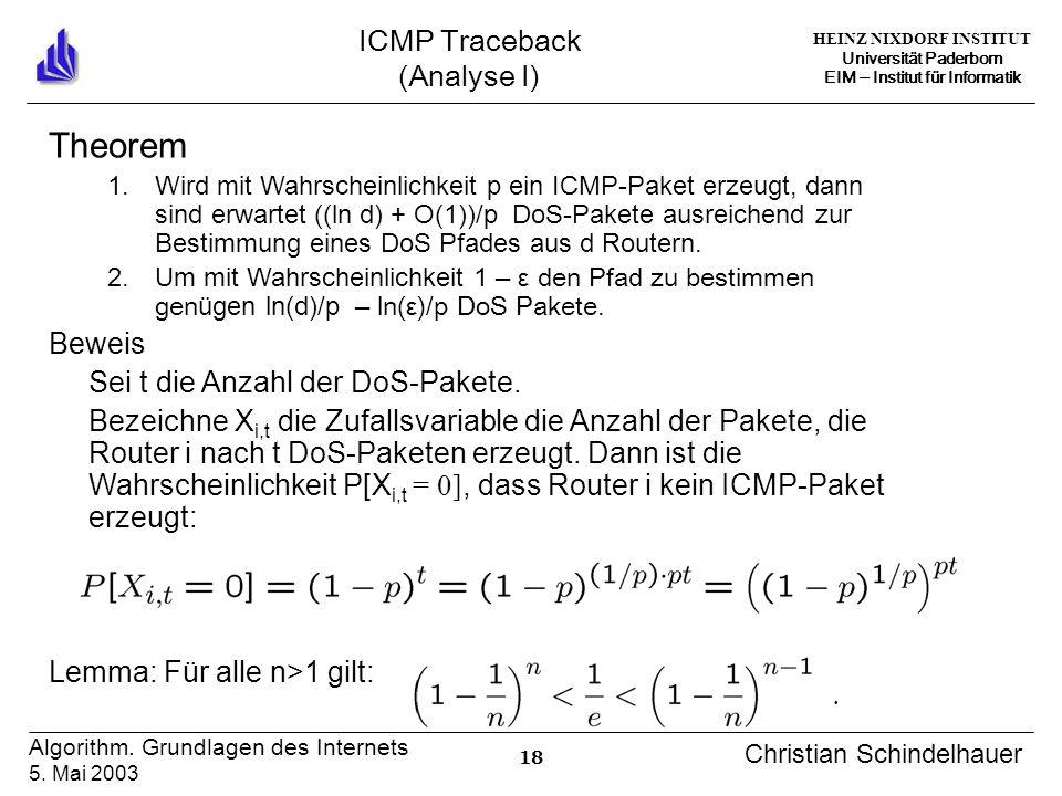 HEINZ NIXDORF INSTITUT Universität Paderborn EIM Institut für Informatik 18 Algorithm. Grundlagen des Internets 5. Mai 2003 Christian Schindelhauer IC