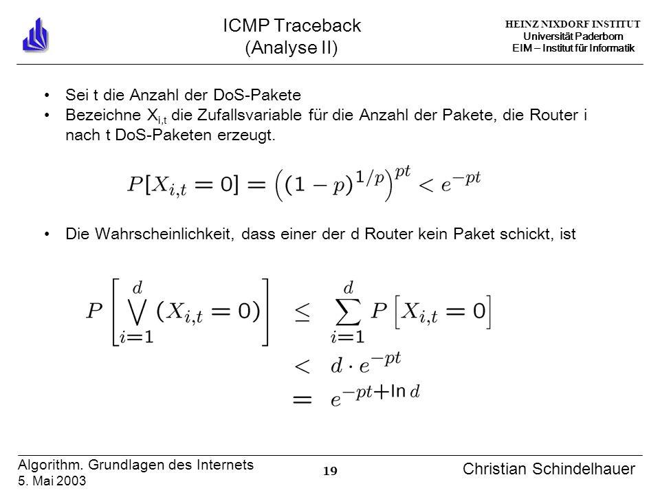 HEINZ NIXDORF INSTITUT Universität Paderborn EIM Institut für Informatik 19 Algorithm. Grundlagen des Internets 5. Mai 2003 Christian Schindelhauer IC