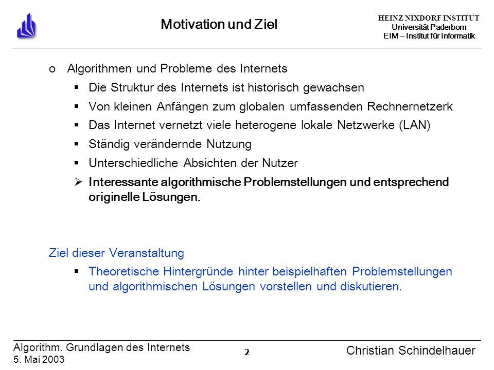 HEINZ NIXDORF INSTITUT Universität Paderborn EIM Institut für Informatik 2 Algorithm. Grundlagen des Internets 5. Mai 2003 Christian Schindelhauer Mot
