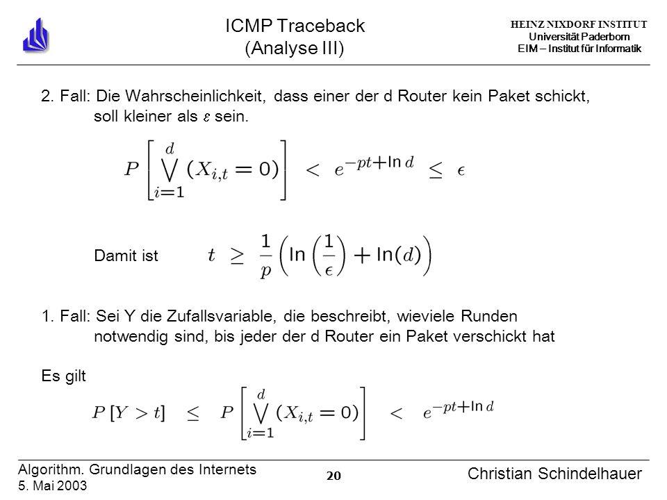 HEINZ NIXDORF INSTITUT Universität Paderborn EIM Institut für Informatik 20 Algorithm. Grundlagen des Internets 5. Mai 2003 Christian Schindelhauer IC