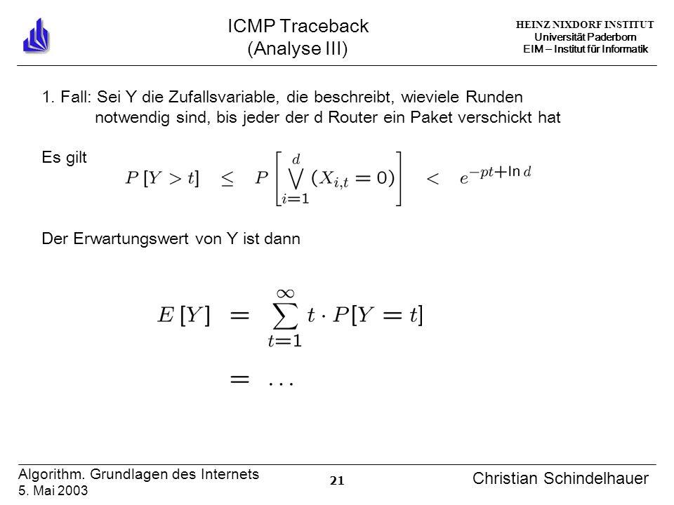HEINZ NIXDORF INSTITUT Universität Paderborn EIM Institut für Informatik 21 Algorithm. Grundlagen des Internets 5. Mai 2003 Christian Schindelhauer IC