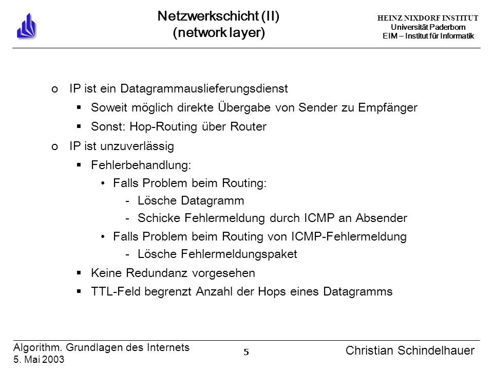 HEINZ NIXDORF INSTITUT Universität Paderborn EIM Institut für Informatik 5 Algorithm. Grundlagen des Internets 5. Mai 2003 Christian Schindelhauer Net