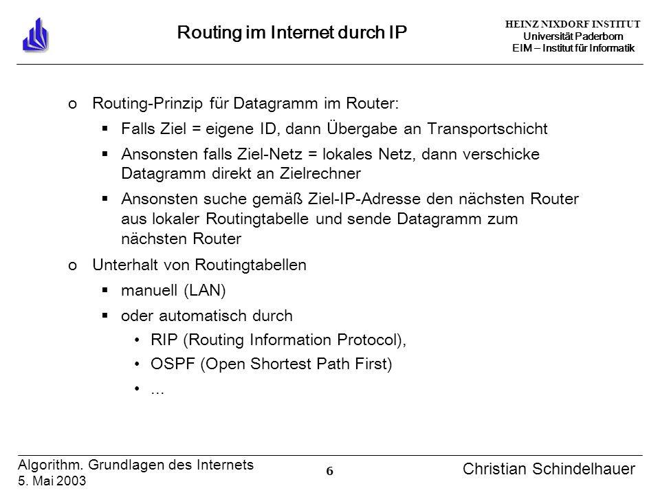 HEINZ NIXDORF INSTITUT Universität Paderborn EIM Institut für Informatik 6 Algorithm. Grundlagen des Internets 5. Mai 2003 Christian Schindelhauer Rou
