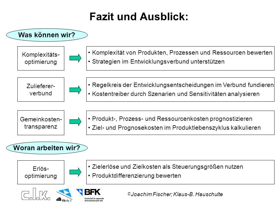 W info 1 © Joachim Fischer; Klaus-B.Hauschulte Fazit und Ausblick: Was können wir.