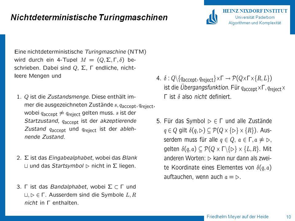 Friedhelm Meyer auf der Heide 10 HEINZ NIXDORF INSTITUT Universität Paderborn Algorithmen und Komplexität Nichtdeterministische Turingmaschinen