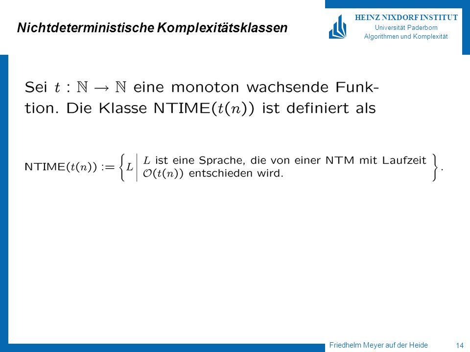 Friedhelm Meyer auf der Heide 14 HEINZ NIXDORF INSTITUT Universität Paderborn Algorithmen und Komplexität Nichtdeterministische Komplexitätsklassen