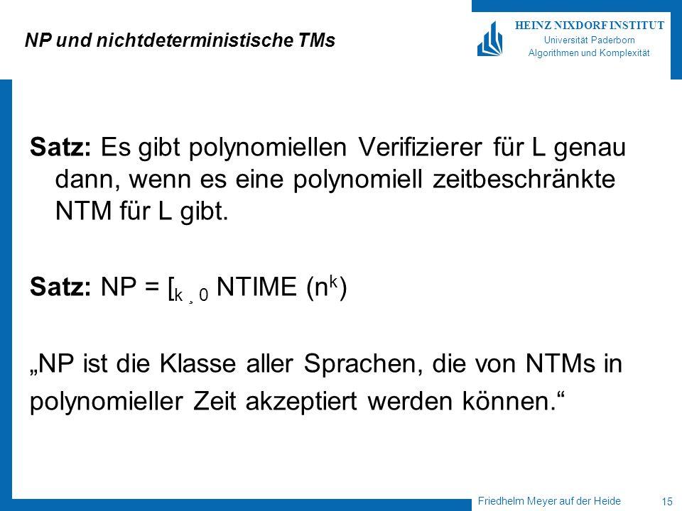 Friedhelm Meyer auf der Heide 15 HEINZ NIXDORF INSTITUT Universität Paderborn Algorithmen und Komplexität NP und nichtdeterministische TMs Satz: Es gi