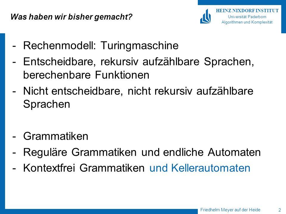 Friedhelm Meyer auf der Heide 2 HEINZ NIXDORF INSTITUT Universität Paderborn Algorithmen und Komplexität Was haben wir bisher gemacht? -Rechenmodell:
