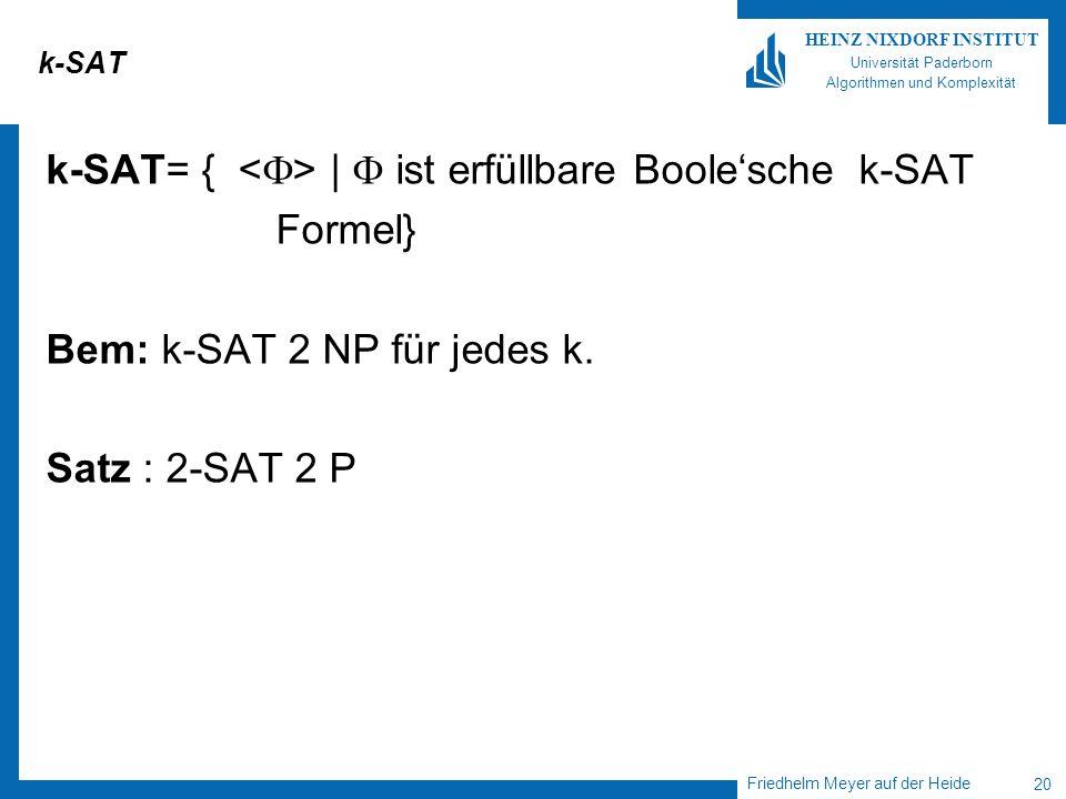 Friedhelm Meyer auf der Heide 20 HEINZ NIXDORF INSTITUT Universität Paderborn Algorithmen und Komplexität k-SAT k-SAT= { | ist erfüllbare Boolesche k-