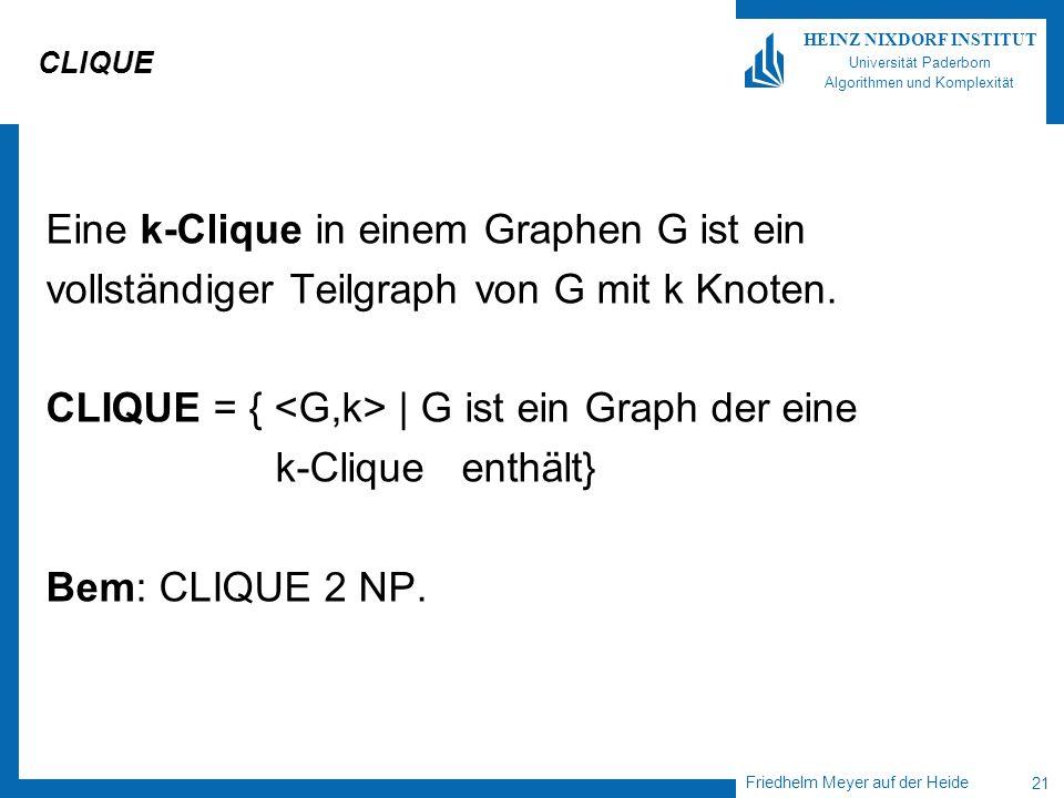 Friedhelm Meyer auf der Heide 21 HEINZ NIXDORF INSTITUT Universität Paderborn Algorithmen und Komplexität CLIQUE Eine k-Clique in einem Graphen G ist