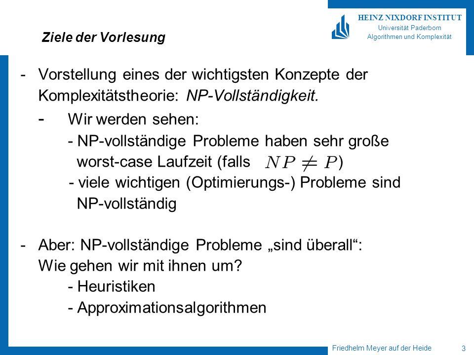 Friedhelm Meyer auf der Heide 34 HEINZ NIXDORF INSTITUT Universität Paderborn Algorithmen und Komplexität Backtracking ….findet Anwendung bei Problemen, deren Lösungen aus vielen Komponenten zusammengesetzt sind.