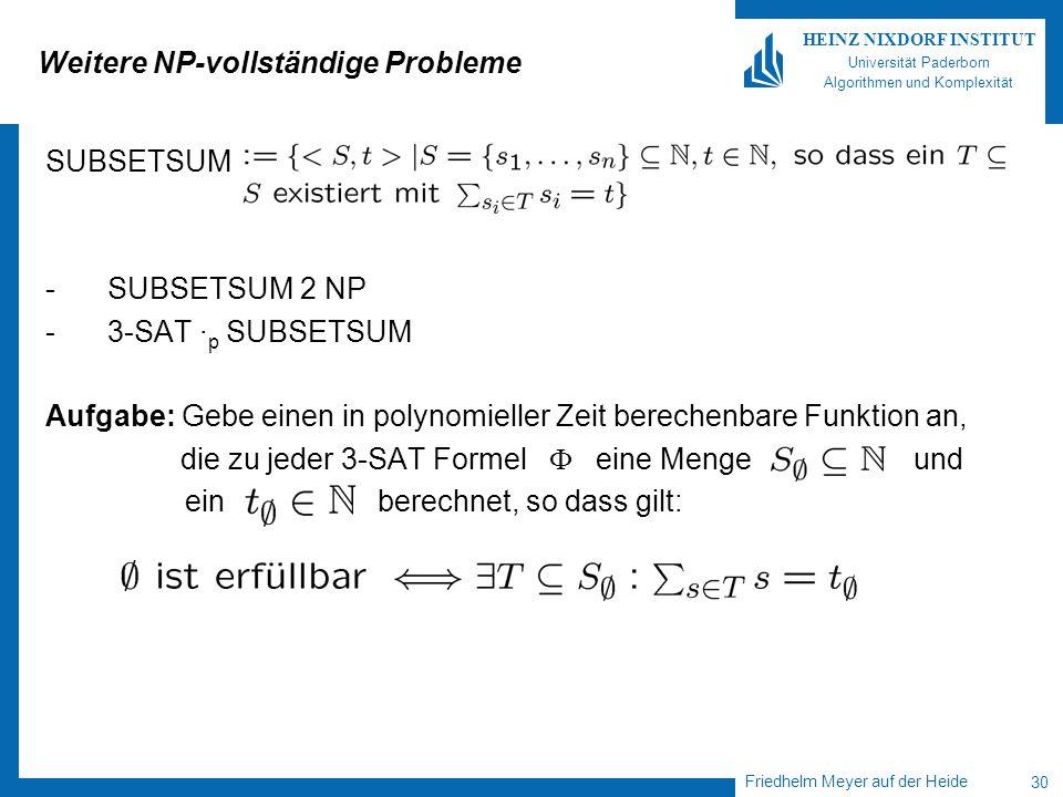 Friedhelm Meyer auf der Heide 30 HEINZ NIXDORF INSTITUT Universität Paderborn Algorithmen und Komplexität Weitere NP-vollständige Probleme SUBSETSUM -