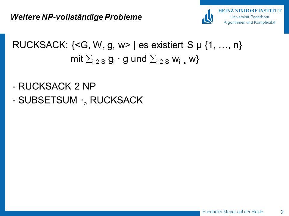 Friedhelm Meyer auf der Heide 31 HEINZ NIXDORF INSTITUT Universität Paderborn Algorithmen und Komplexität Weitere NP-vollständige Probleme RUCKSACK: {