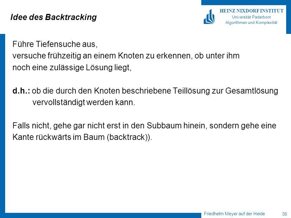 Friedhelm Meyer auf der Heide 35 HEINZ NIXDORF INSTITUT Universität Paderborn Algorithmen und Komplexität Idee des Backtracking Führe Tiefensuche aus,