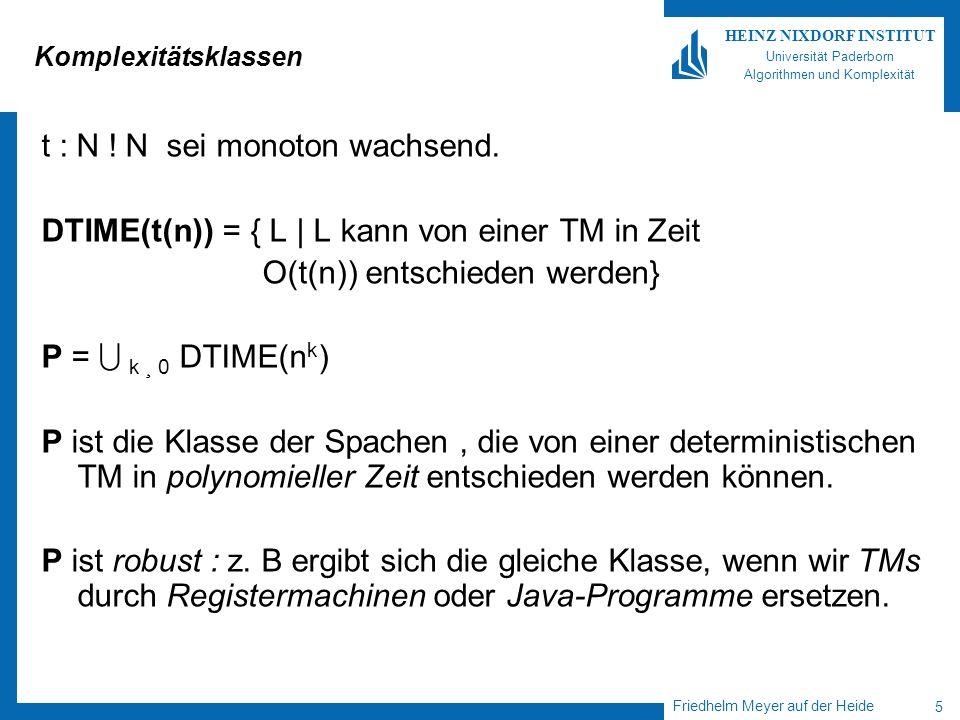 Friedhelm Meyer auf der Heide 5 HEINZ NIXDORF INSTITUT Universität Paderborn Algorithmen und Komplexität Komplexitätsklassen t : N ! N sei monoton wac