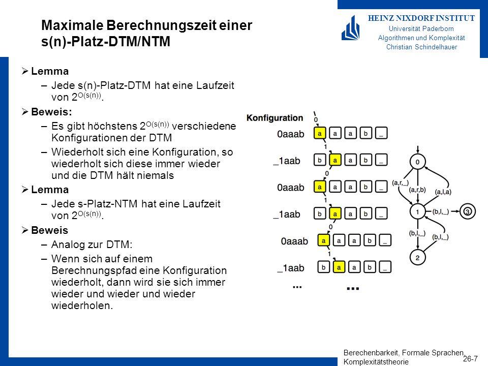 Berechenbarkeit, Formale Sprachen, Komplexitätstheorie 26-18 HEINZ NIXDORF INSTITUT Universität Paderborn Algorithmen und Komplexität Christian Schindelhauer PSPACE-Vollständigkeit Definition: –Eine Sprache S ist PSPACE- schwierig, falls für alle L PSPACE: L m,p S –Eine Sprache S ist PSPACE- vollständig wenn: S PSPACE S ist PSPACE-schwierig