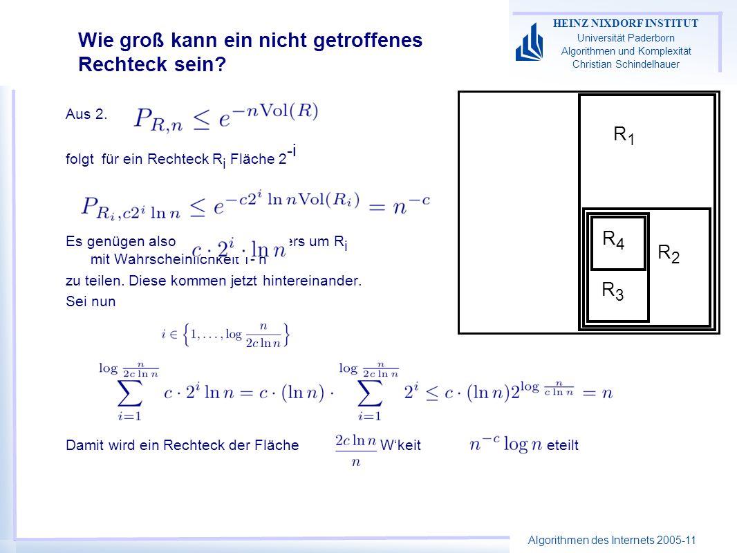 Algorithmen des Internets 2005-11 HEINZ NIXDORF INSTITUT Universität Paderborn Algorithmen und Komplexität Christian Schindelhauer Wie groß kann ein nicht getroffenes Rechteck sein.