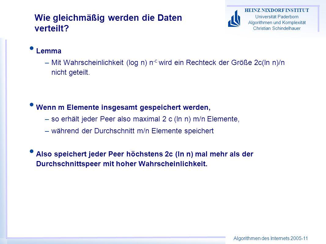 Algorithmen des Internets 2005-11 HEINZ NIXDORF INSTITUT Universität Paderborn Algorithmen und Komplexität Christian Schindelhauer Wie gleichmäßig werden die Daten verteilt.