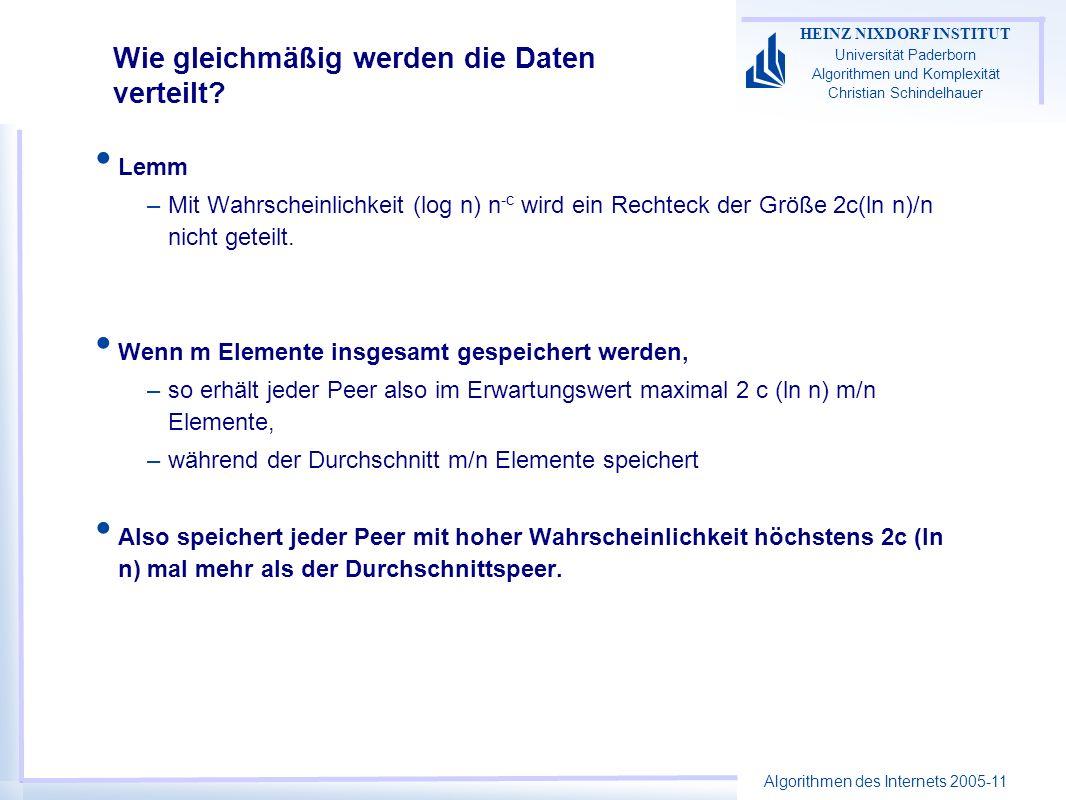 Algorithmen des Internets 2005-11 HEINZ NIXDORF INSTITUT Universität Paderborn Algorithmen und Komplexität Christian Schindelhauer Wie gleichmäßig wer