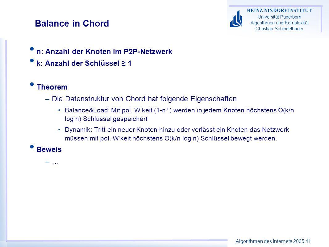 Algorithmen des Internets 2005-11 HEINZ NIXDORF INSTITUT Universität Paderborn Algorithmen und Komplexität Christian Schindelhauer Balance in Chord n: Anzahl der Knoten im P2P-Netzwerk k: Anzahl der Schlüssel 1 Theorem –Die Datenstruktur von Chord hat folgende Eigenschaften Balance&Load: Mit pol.