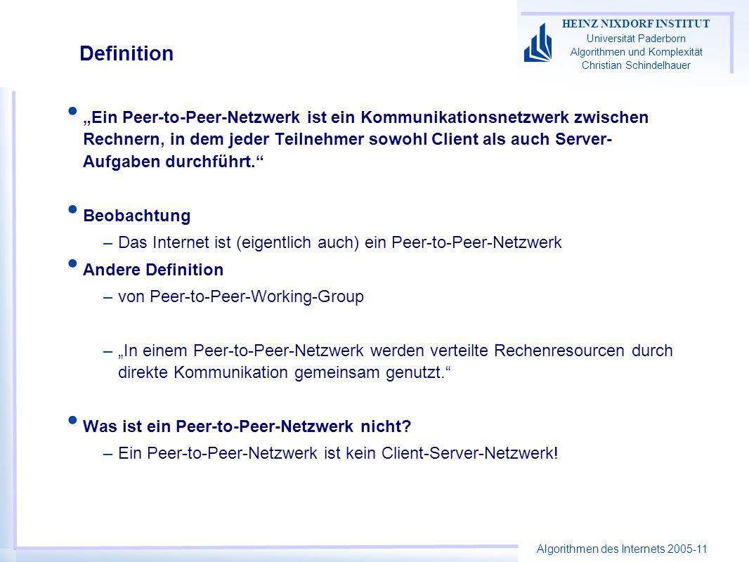 Algorithmen des Internets 2005-11 HEINZ NIXDORF INSTITUT Universität Paderborn Algorithmen und Komplexität Christian Schindelhauer Chord als DHT n: Knotenanzahl, Knotenmenge V k: Anzahl Schlüssel, Schlüsselmenge K m: Hashwertlänge: m >> log max{K,N} Zwei Hash-Funktionen bilden auf {0,..,2 m -1} ab –r V (b): bildet Peer b zufällig auf {0,..,2 m - 1} ab –r K (i): bildet Index i zufällig auf {0,..,2 m -1} ab Abbildung von i auf einen Peer b = f v (i) –f V (i) := arg min b V (r B (b)-r K (i)) Index 0 1 23 4 5 6 7 2 3 5 2 0 6