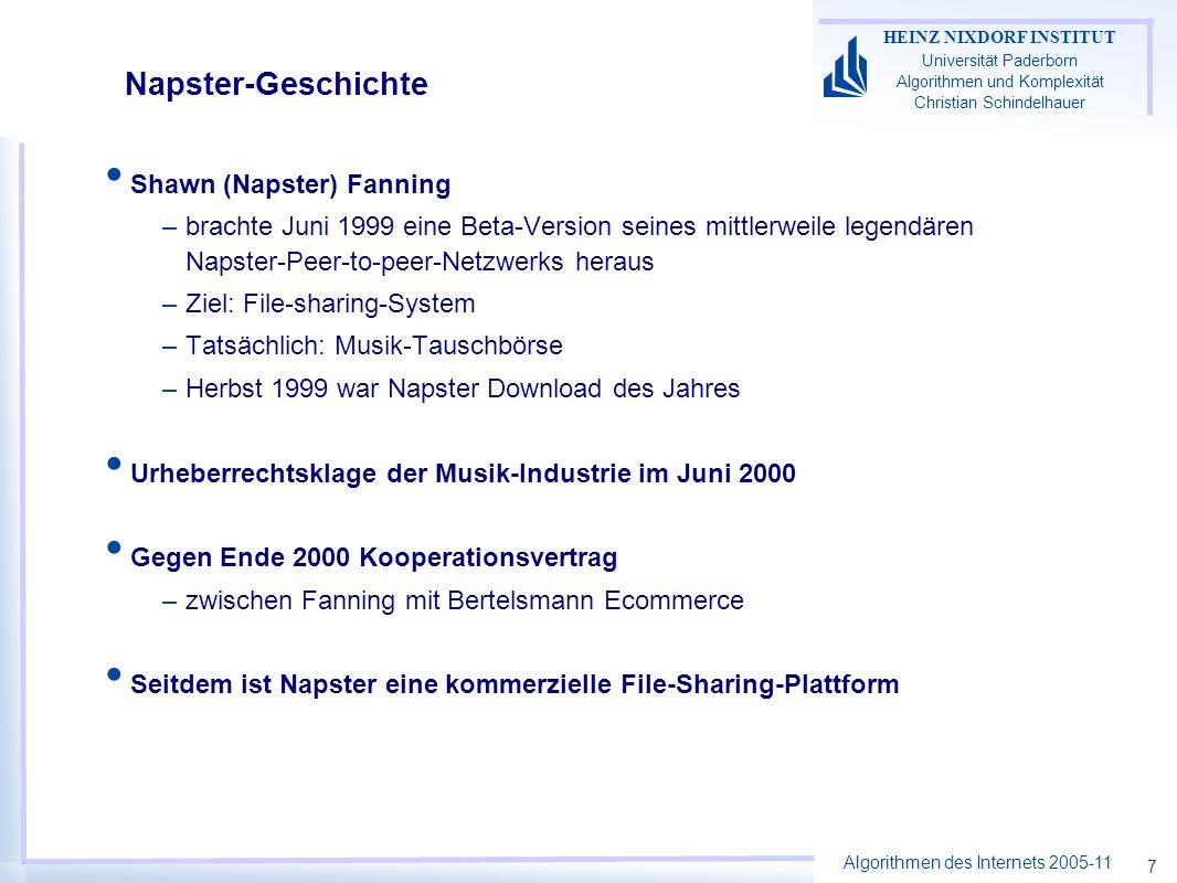 Algorithmen des Internets 2005-11 HEINZ NIXDORF INSTITUT Universität Paderborn Algorithmen und Komplexität Christian Schindelhauer 7 Napster-Geschichte Shawn (Napster) Fanning –brachte Juni 1999 eine Beta-Version seines mittlerweile legendären Napster-Peer-to-peer-Netzwerks heraus –Ziel: File-sharing-System –Tatsächlich: Musik-Tauschbörse –Herbst 1999 war Napster Download des Jahres Urheberrechtsklage der Musik-Industrie im Juni 2000 Gegen Ende 2000 Kooperationsvertrag –zwischen Fanning mit Bertelsmann Ecommerce Seitdem ist Napster eine kommerzielle File-Sharing-Plattform