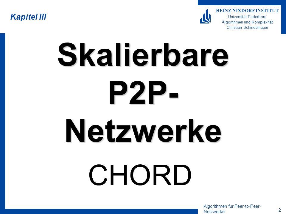 1 HEINZ NIXDORF INSTITUT Universität Paderborn Algorithmen und Komplexität Algorithmen für Peer-to-Peer-Netzwerke Sommersemester 2004 28.05.2004 6.