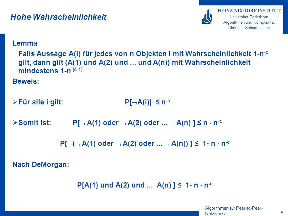 Algorithmen für Peer-to-Peer- Netzwerke 3 HEINZ NIXDORF INSTITUT Universität Paderborn Algorithmen und Komplexität Christian Schindelhauer Chernoff-Schranke Bernoulli-Experiment –Entweder 0 mit Wahrscheinlichkeit 1-p –Oder 1 mit Wahrscheindlichkeit p