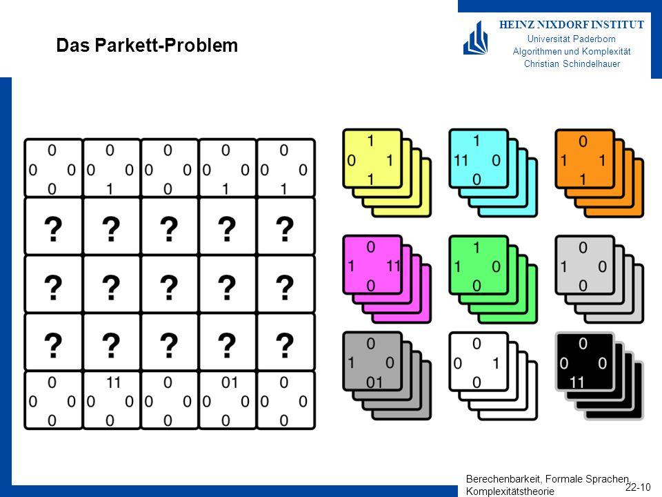 Berechenbarkeit, Formale Sprachen, Komplexitätstheorie 22-10 HEINZ NIXDORF INSTITUT Universität Paderborn Algorithmen und Komplexität Christian Schind