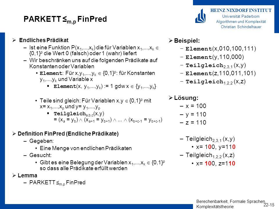 Berechenbarkeit, Formale Sprachen, Komplexitätstheorie 22-15 HEINZ NIXDORF INSTITUT Universität Paderborn Algorithmen und Komplexität Christian Schind