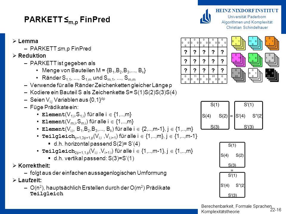 Berechenbarkeit, Formale Sprachen, Komplexitätstheorie 22-16 HEINZ NIXDORF INSTITUT Universität Paderborn Algorithmen und Komplexität Christian Schind