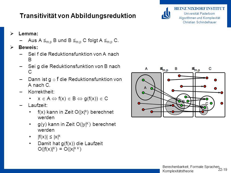Berechenbarkeit, Formale Sprachen, Komplexitätstheorie 22-19 HEINZ NIXDORF INSTITUT Universität Paderborn Algorithmen und Komplexität Christian Schind