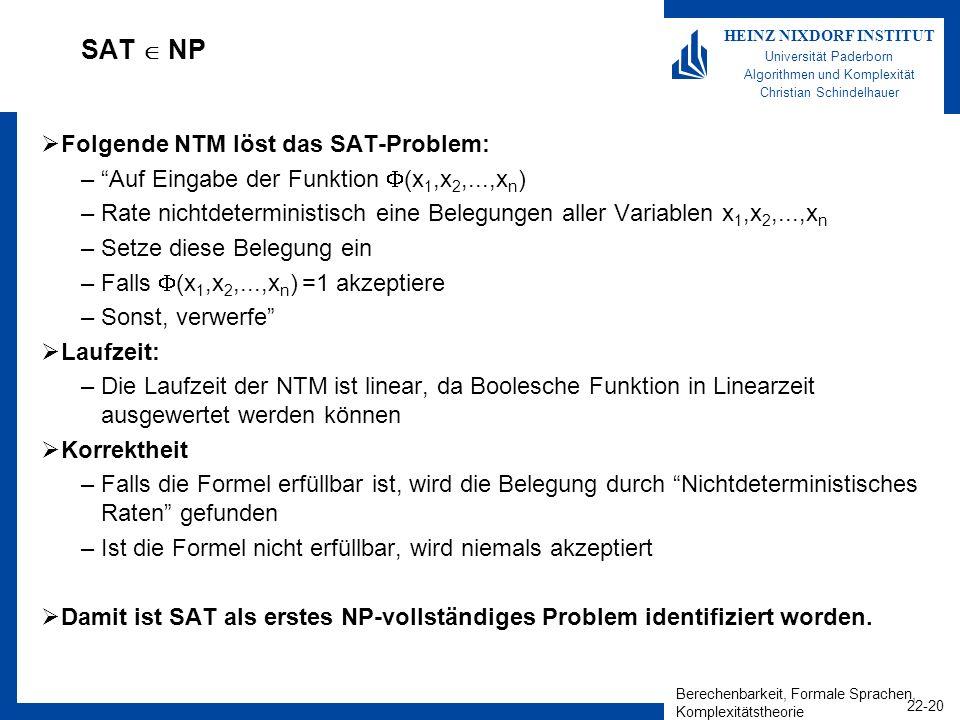 Berechenbarkeit, Formale Sprachen, Komplexitätstheorie 22-20 HEINZ NIXDORF INSTITUT Universität Paderborn Algorithmen und Komplexität Christian Schind