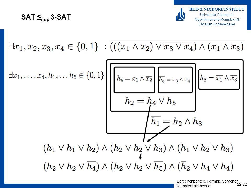 Berechenbarkeit, Formale Sprachen, Komplexitätstheorie 22-22 HEINZ NIXDORF INSTITUT Universität Paderborn Algorithmen und Komplexität Christian Schind