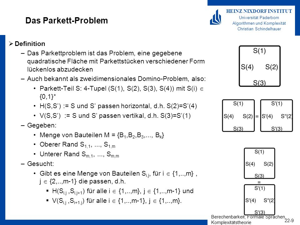 Berechenbarkeit, Formale Sprachen, Komplexitätstheorie 22-20 HEINZ NIXDORF INSTITUT Universität Paderborn Algorithmen und Komplexität Christian Schindelhauer SAT NP Folgende NTM löst das SAT-Problem: –Auf Eingabe der Funktion (x 1,x 2,...,x n ) –Rate nichtdeterministisch eine Belegungen aller Variablen x 1,x 2,...,x n –Setze diese Belegung ein –Falls (x 1,x 2,...,x n ) =1 akzeptiere –Sonst, verwerfe Laufzeit: –Die Laufzeit der NTM ist linear, da Boolesche Funktion in Linearzeit ausgewertet werden können Korrektheit –Falls die Formel erfüllbar ist, wird die Belegung durch Nichtdeterministisches Raten gefunden –Ist die Formel nicht erfüllbar, wird niemals akzeptiert Damit ist SAT als erstes NP-vollständiges Problem identifiziert worden.