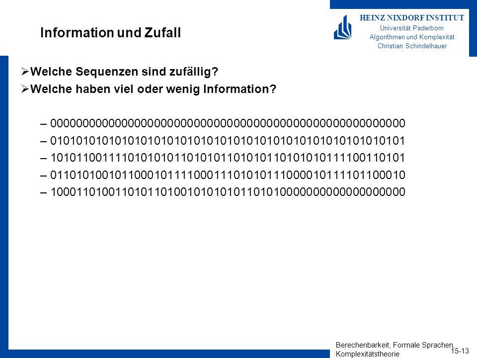 Berechenbarkeit, Formale Sprachen, Komplexitätstheorie 15-14 HEINZ NIXDORF INSTITUT Universität Paderborn Algorithmen und Komplexität Christian Schindelhauer Information und Zufall Bessere Beschreibungen: –000000000000000000000000000000000000000000000000000000 = 0 54 –010101010101010101010101010101010101010101010101010101 = (01) 27 –101011001111010101011010101101010110101010111100110101 = ww rev, für 101011001111010101011010101 –100011010011010110100101010101101010000000000000000000 = 1000w0ww(01) 5 10101 0 12, für w=11010 –011010100101100010111100011101010111000010111101100010 = ???.