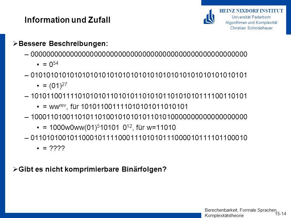 Berechenbarkeit, Formale Sprachen, Komplexitätstheorie 15-14 HEINZ NIXDORF INSTITUT Universität Paderborn Algorithmen und Komplexität Christian Schindelhauer Information und Zufall Bessere Beschreibungen: –000000000000000000000000000000000000000000000000000000 = 0 54 –010101010101010101010101010101010101010101010101010101 = (01) 27 –101011001111010101011010101101010110101010111100110101 = ww rev, für 101011001111010101011010101 –100011010011010110100101010101101010000000000000000000 = 1000w0ww(01) 5 10101 0 12, für w=11010 –011010100101100010111100011101010111000010111101100010 = .
