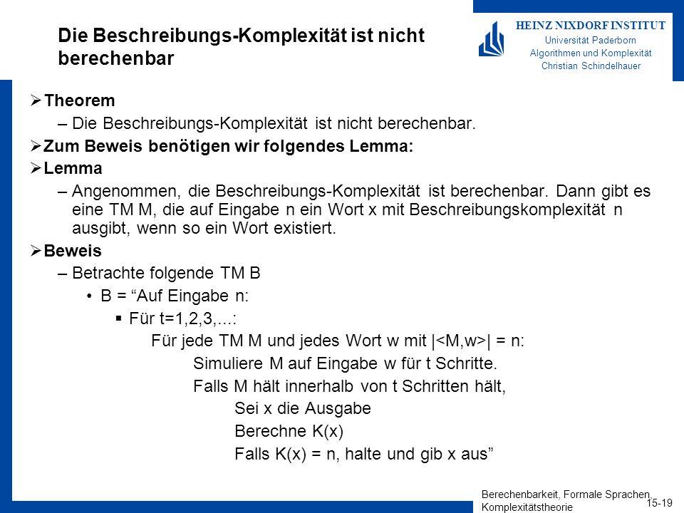 Berechenbarkeit, Formale Sprachen, Komplexitätstheorie 15-20 HEINZ NIXDORF INSTITUT Universität Paderborn Algorithmen und Komplexität Christian Schindelhauer Die Beschreibungs-Komplexität ist nicht berechenbar Theorem –Die Beschreibungs-Komplexität ist nicht berechenbar.