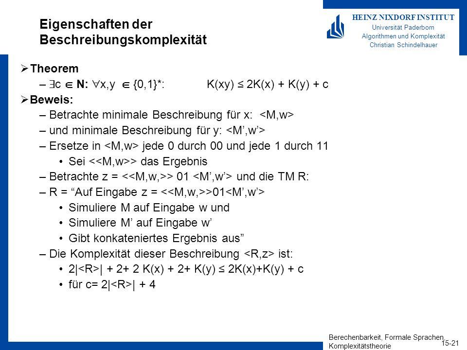 Berechenbarkeit, Formale Sprachen, Komplexitätstheorie 15-21 HEINZ NIXDORF INSTITUT Universität Paderborn Algorithmen und Komplexität Christian Schindelhauer Eigenschaften der Beschreibungskomplexität Theorem – c N: x,y {0,1}*: K(xy) 2K(x) + K(y) + c Beweis: –Betrachte minimale Beschreibung für x: –und minimale Beschreibung für y: –Ersetze in jede 0 durch 00 und jede 1 durch 11 Sei > das Ergebnis –Betrachte z = > 01 und die TM R: –R = Auf Eingabe z = >01 Simuliere M auf Eingabe w und Simuliere M auf Eingabe w Gibt konkateniertes Ergebnis aus –Die Komplexität dieser Beschreibung ist: 2| | + 2+ 2 K(x) + 2+ K(y) 2K(x)+K(y) + c für c= 2| | + 4