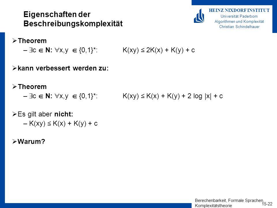 Berechenbarkeit, Formale Sprachen, Komplexitätstheorie 15-22 HEINZ NIXDORF INSTITUT Universität Paderborn Algorithmen und Komplexität Christian Schindelhauer Eigenschaften der Beschreibungskomplexität Theorem – c N: x,y {0,1}*: K(xy) 2K(x) + K(y) + c kann verbessert werden zu: Theorem – c N: x,y {0,1}*: K(xy) K(x) + K(y) + 2 log |x| + c Es gilt aber nicht: –K(xy) K(x) + K(y) + c Warum