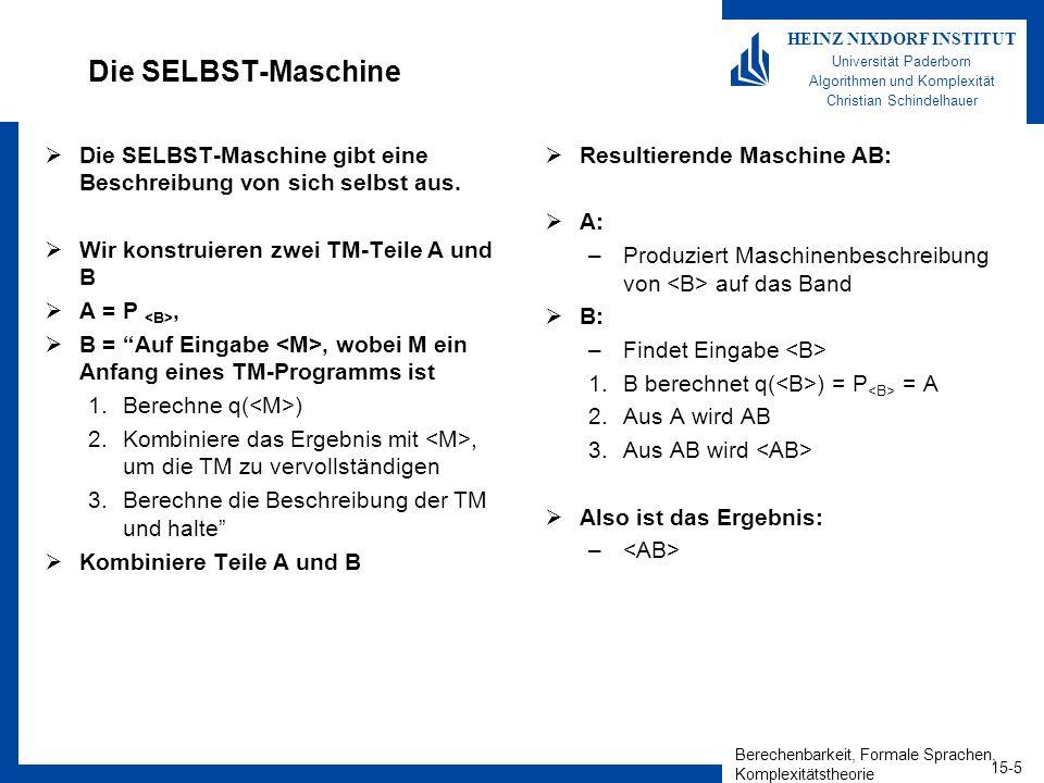 Berechenbarkeit, Formale Sprachen, Komplexitätstheorie 15-5 HEINZ NIXDORF INSTITUT Universität Paderborn Algorithmen und Komplexität Christian Schindelhauer Die SELBST-Maschine Die SELBST-Maschine gibt eine Beschreibung von sich selbst aus.