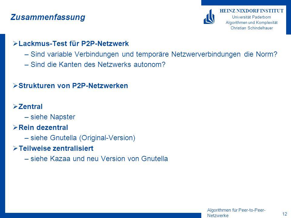 Algorithmen für Peer-to-Peer- Netzwerke 12 HEINZ NIXDORF INSTITUT Universität Paderborn Algorithmen und Komplexität Christian Schindelhauer Zusammenfa