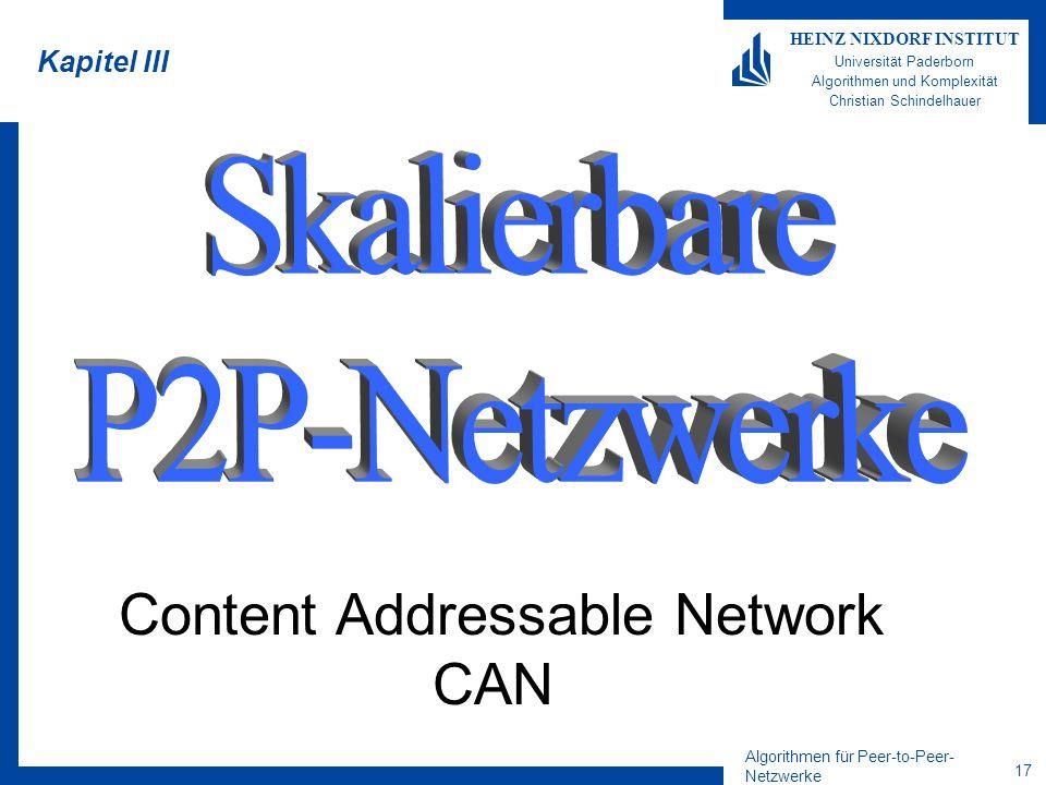 Algorithmen für Peer-to-Peer- Netzwerke 17 HEINZ NIXDORF INSTITUT Universität Paderborn Algorithmen und Komplexität Christian Schindelhauer Kapitel II
