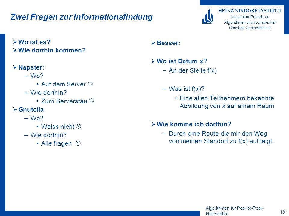 Algorithmen für Peer-to-Peer- Netzwerke 18 HEINZ NIXDORF INSTITUT Universität Paderborn Algorithmen und Komplexität Christian Schindelhauer Zwei Frage