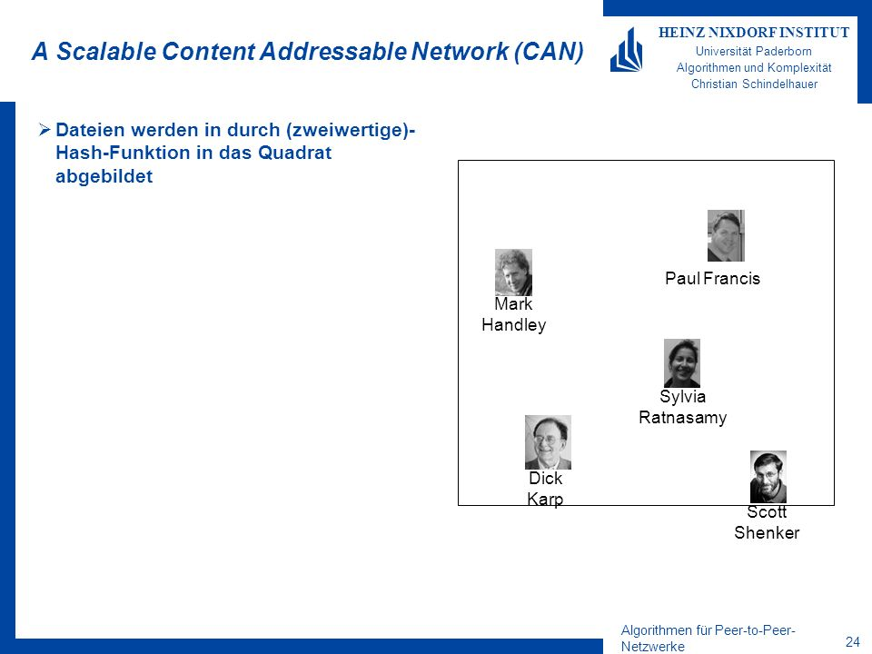 Algorithmen für Peer-to-Peer- Netzwerke 24 HEINZ NIXDORF INSTITUT Universität Paderborn Algorithmen und Komplexität Christian Schindelhauer A Scalable Content Addressable Network (CAN) Dateien werden in durch (zweiwertige)- Hash-Funktion in das Quadrat abgebildet Dick Karp Mark Handley Sylvia Ratnasamy Paul Francis Scott Shenker