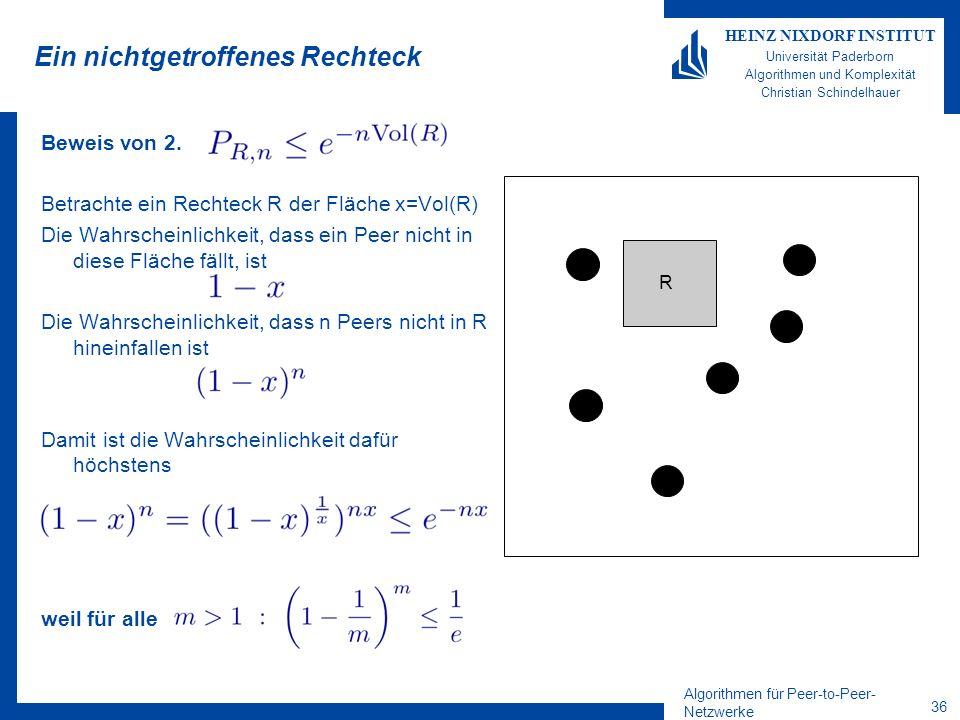 Algorithmen für Peer-to-Peer- Netzwerke 36 HEINZ NIXDORF INSTITUT Universität Paderborn Algorithmen und Komplexität Christian Schindelhauer Ein nichtg