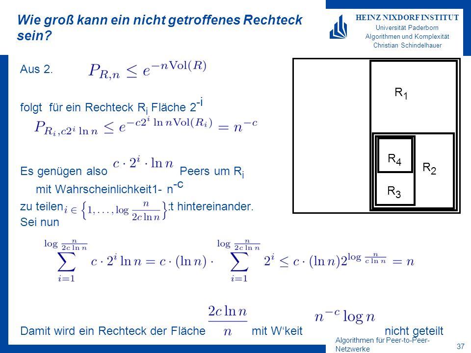 Algorithmen für Peer-to-Peer- Netzwerke 37 HEINZ NIXDORF INSTITUT Universität Paderborn Algorithmen und Komplexität Christian Schindelhauer Wie groß k